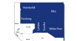 map of Nevada highlighting Humboldt, Pershing, Lander, Eureka, White Pine, and Elko counties
